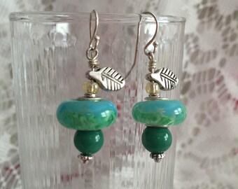 Marbled Green Merano Glass Bead Earrings