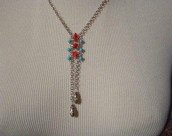 Coral and Turquoise Lariat