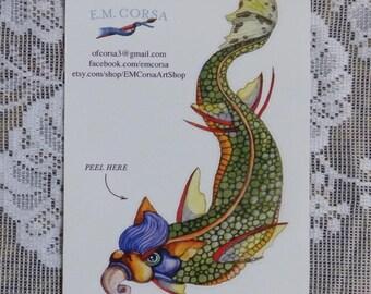 Sea Serpent Sticker, sea monster sticker, sea dragon sticker, beach art, vinyl sticker for indoors or out
