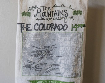 Colorado 14er Tea Towel - Mountains - 14,000 ft mountain peaks - mountains are calling - outoor gift - colorado housewarming present gift