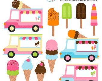 Ice Cream Vans Clipart Set - clip art set of ice cream vans, trucks, ice cream, lolly - personal use, small commercial use, instant download