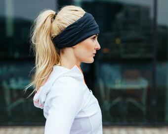 Wide Running Headband, Black Nonslip Headband, Gifts for Runners