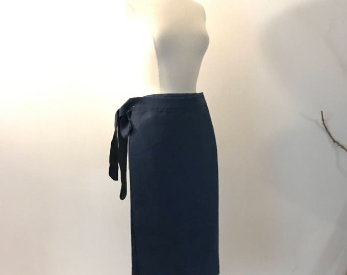 midnight blue linen minimalist mid calf length wrap skirt only ready to wear / navy blue linen wrap skirt / free size wrap skirt /