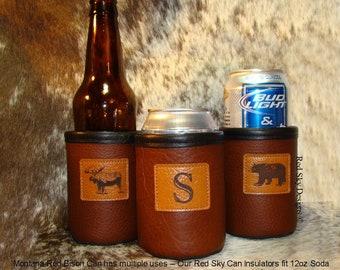 Bison Leather Beer Can Holder Custom Groomsmen Gift Beer Holder Bison Leather Can Coolie 3rd Anniversary Father's Day Custom Wedding Gift