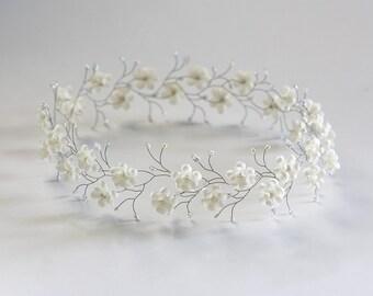 511_Ivory flower crown, Wedding crown, Hair accessories flowers, Silver headband, Tiara flowers, Hair piece wedding, Bridal crown, Wedding.