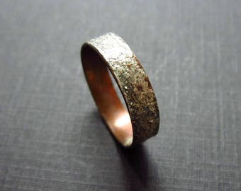 Sterling Silver Over Copper Textured Ring - Oxidized Silver Band Ring - Hand Forged Jewelry - Gift Ideas - Linda McNair