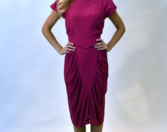 1980s raspberry pink belted dress 80s vintage in a good way!