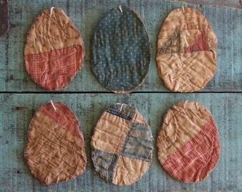 6 Rustic Egg Ornaments, Tattered Eggs, Antique Quilt Eggs, Primitive Eggs, Farmhouse Easter Decor, Pink & Blue - READY TO SHIP
