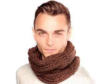 Brown Scarf, Chunky Knit Wool Snood, Merino Wool Scarf, Wool Cowl, Chocolate brown scarf, Winter scarf, Infinity Scarf, Gift for him, Cowl