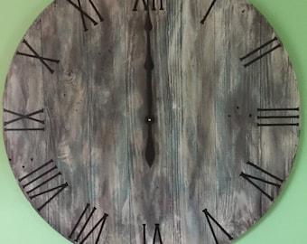 Wall Clock, Large Wall Clock, Rustic Wall Clock, Wooden Wall Clock, Unique Wall Clock, Barn wood  Clock , Handmade Wall Clock, Round Clock