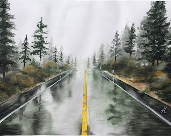 Road under the rain watercolor Road art Rain art Watercolor original Original painting Landscape art painting Foggy forest Home decor