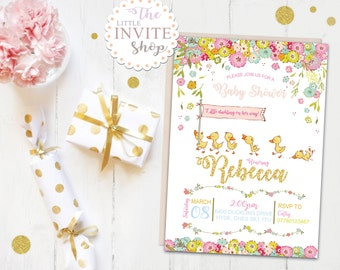 Baby Shower Girl Invite   Personalised Digital Download   Printable Party Invitation   Cute Ducks Ducklings   New Mum to Be   New Baby.