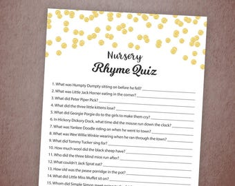 Nursery Rhyme Quiz, Baby Shower Game Printable, Gold Confetti, Instant Download, Gender Neutral, Baby Shower Activity, Rhyme Quiz, B001