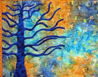 Tree of Life Card, Free Shipping, Beautiful Tree Card, Thanksgiving, Moving On Card, Celebration of Life Card, Letting Go, Blue and Orange