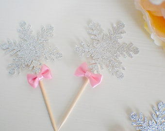 snowflake cupcake topper, winter wonderland cupcake topper, Winter wonderland, snow cupcake topper
