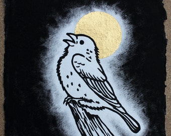 Night Song - Linocut, Hand Coloured with 24ct Gold Leaf Detail. Signed Edtion of 15