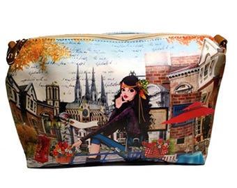 Travel Paris Paint Leather Desing Print Handbag Clutches