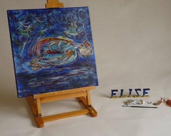 Peinture artistique Tableau Femme yoga enfant posture recroquevillée abstrait décoration bleu format carré 40 cm