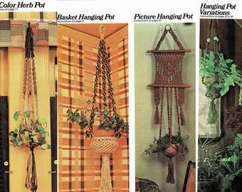 Vintage 1970s Macrame Hanging Plant Pot Holders Instant Digital Download Five Projects Retro Knotwork How To Make Plant Hangers