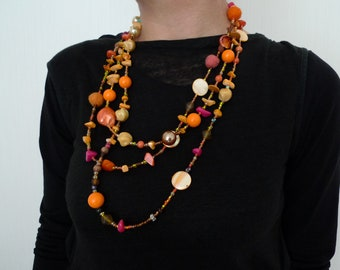 Bright and sunny handmade orange, pink and yellow necklace