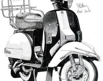 Art Print - Pen & Ink Drawing, A4 - Vespa Scooter