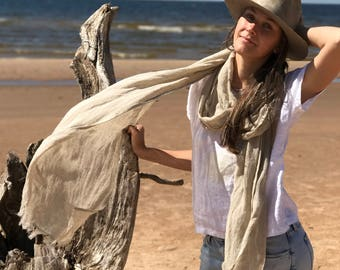 Natural Linen Scarf, Extra Long Scarf, Oversized Shawl, Lightweight Scarf, Eco friendly Scarf, Scarf for Her, Boho Scarf, Pure Linen Scarf