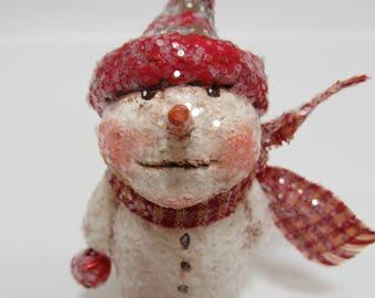 Paper Mache Snowman - Folk Art Snowman - Whimsical Snowman - Tiny Snowman - OOAK Snowman