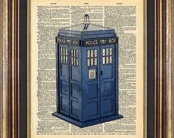 Dr Who Tardis Police Call Box Dictionary page art Book Page art Print