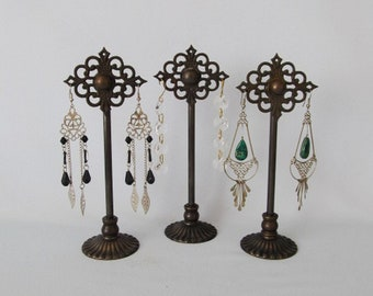 3 Antique Earring Holders | Keyhole Covers | Retail Earring Display | Salvaged Parts | Vintage Hardware | Repurposed Parts