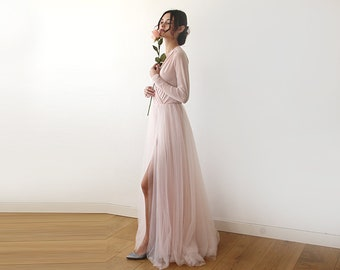 Pink wrap tulle gown with long chiffon sleeves and slit, pink bridesmaids tulle gown 1174