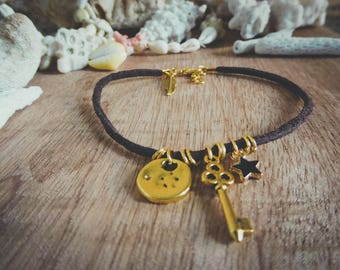 Golden brown leather key strap and Bohemian Koh Lipe star