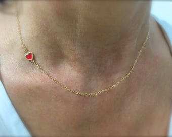 Heart necklace - enamel heart necklace - red heart necklace - gold - silver - rose gold - Heart chain necklace - valentines