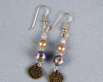 """Light Blue Vintage Cloisonne Earrings, 14k Gold Filled, Vintage Drops, 14k Gold Filled Earwires - 2 1/2"""" - Hand Crafted Artisan Jewelry"""