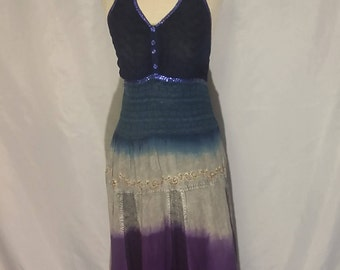 70% OFF SALE Womens Hippie BOHO halter dress tie dye sequin halter dress summer dress one size womens dresses (Small)
