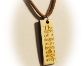 The journey of 1000 miles begins with a single step / Lao Tzu / Bits of Wisdom Quote Pendants / Quotes
