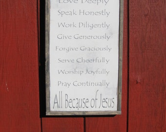 Christian Family Rules Wood Sign Inspirational Wooden Wall Art Motivational Room Decor 1'x2' Family Sign