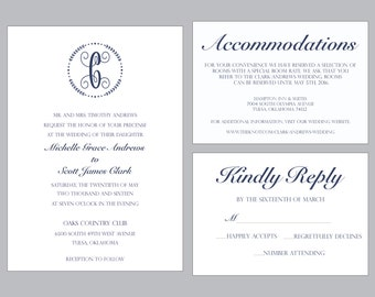 Wedding Invitation Printable, Monogram, Initial, Formal, Classy