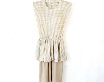 Ivory Dogtooth Peplum Dress Pencil Bodycon Skirt Sleeveless Midi Summer Dress Size Medium