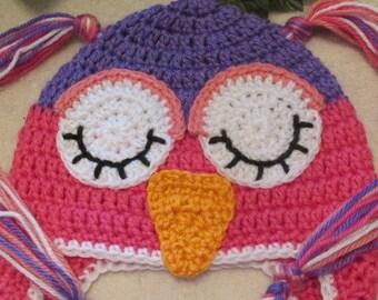 Teen or Adult Owl Hat, Teen Girl Owl Hat, Womens Crochet Owl Hat, Toddler Owl Hat, Child Owl Hat.Photo Prop