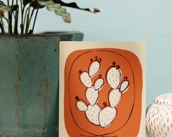 Prickly pear cactus print, hand-pulled screenprint