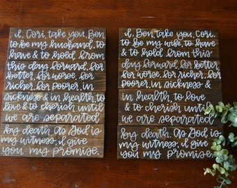 Calligraphy Vows Wooden Sign// Handlettered Vows Wooden Sign// Vows Wooden Pallet Sign// Wedding Gift// Anniversary Gift//