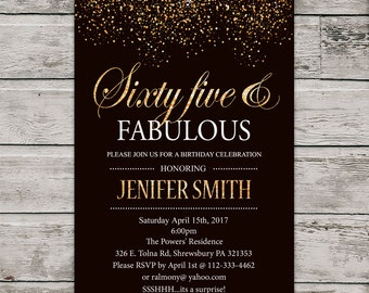 Sixty five birthday invitation, PRINTABLE 65th Birthday Invite, Gold glitter sixty five invitation. Digital File.