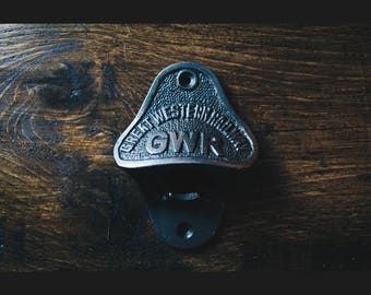 Vintage Style Wall Mounted Bottle Opener in an Antique Iron Finish (GWR)