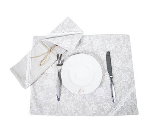 Provence Cotton Reversible Placemat, White Rose