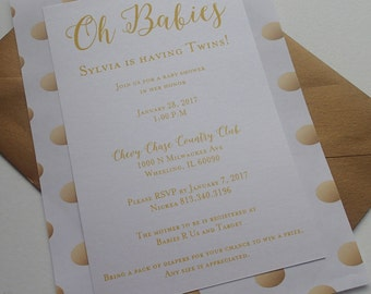 Gold Party Invitation, Shower Invitation, Baby Shower Invitation, Ivory Invitation