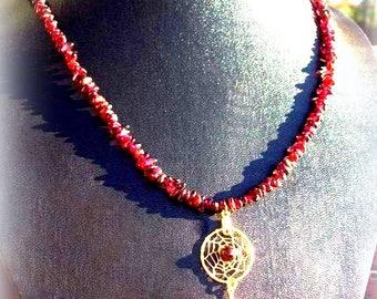 CRIMSON BEAUTY Garnet & gold Dream catcher Necklace