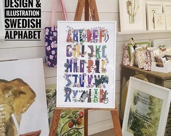 Art print / poster of the Swedish Alphabet with illustrations for every letter