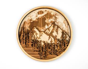Forest, Mountain, Moon, Wall Art, 3D, Art