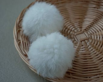 2 pcs tassel 7cm white rabbit fur