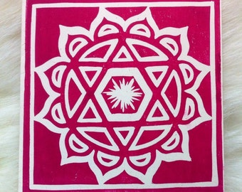 Hindu Anahata Linocut Hand Printed on Recycled Card